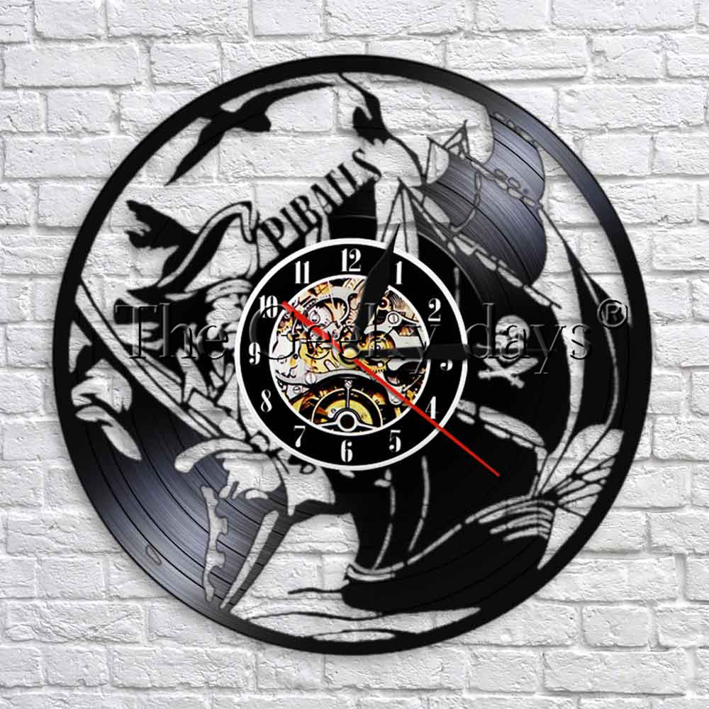 1piece Pirates Ship Vinyl Record Wall Clock Modern Design Handmade