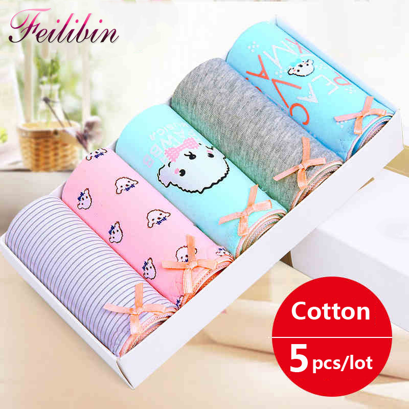Feilibin 5PCS/LOT Women   Panties   Sexy Cotton Underwear Lovely Printed Intimate Seamless Briefs Breathable Lingerie Ladies briefs