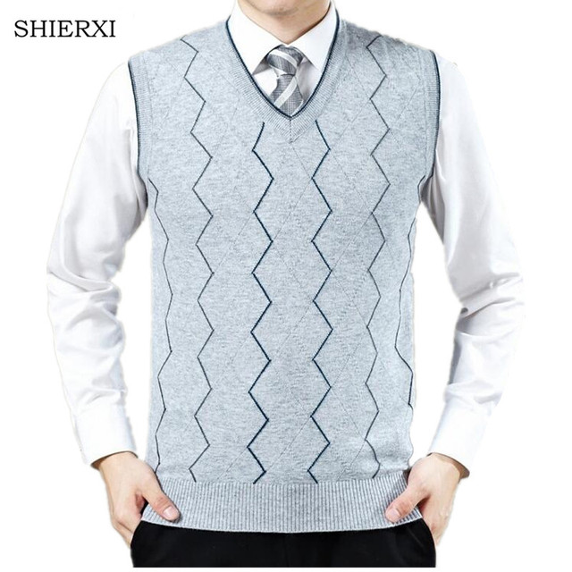 New Knitted Vest Autumn Mens Pullove Knitted Sweater Men Business