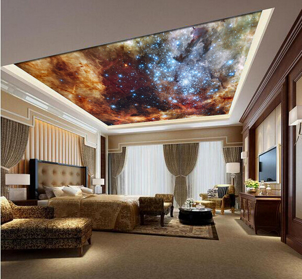 Custom ceiling wallpaper, the universe of the ceiling of the room space for the living room bedroom wall vinyl wallpaper custom ceiling wallpaper blue sky and white clouds murals for the living room apartment ceiling background wall vinyl wallpaper