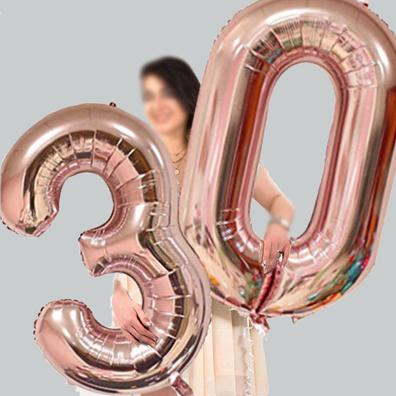 32/40inch Number Aluminum Foil Balloons Rose Gold Silver Digit Figure Balloon Child Adult Birthday Wedding Decor Party Supplies(China)