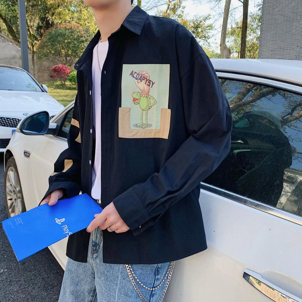 Spring And Autumn Cartoon Personality Printing Shirt Men's Korean Youth Handsome Loose Long-sleeved Shirt Cotton Jacket