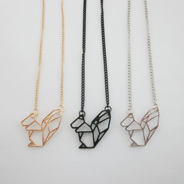 Lastest fashion jewelry accessories metal paper folded flexagon lastest fashion jewelry accessories metal paper folded flexagon origami squirrel pendant necklace aloadofball Image collections