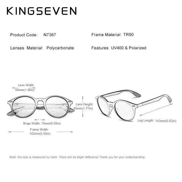 KINGSEVEN TR90 Vintage Men Sunglasses Polarized Oval Frame Women Men Unisex Night Vision Goggles Oculos De Sol