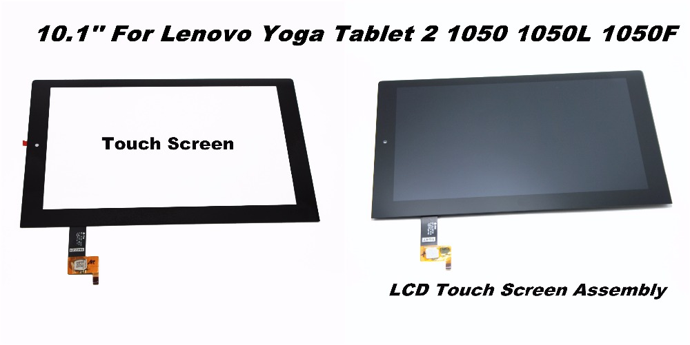 10.1 LCD Touch tablet screen Digitizer Glass Display Assembly Replacement pocketbook for Lenovo Yoga Tablet 2 1050 1050L 1050F replacement lcd display capacitive touch screen digitizer assembly for lg d802 d805 g2 black