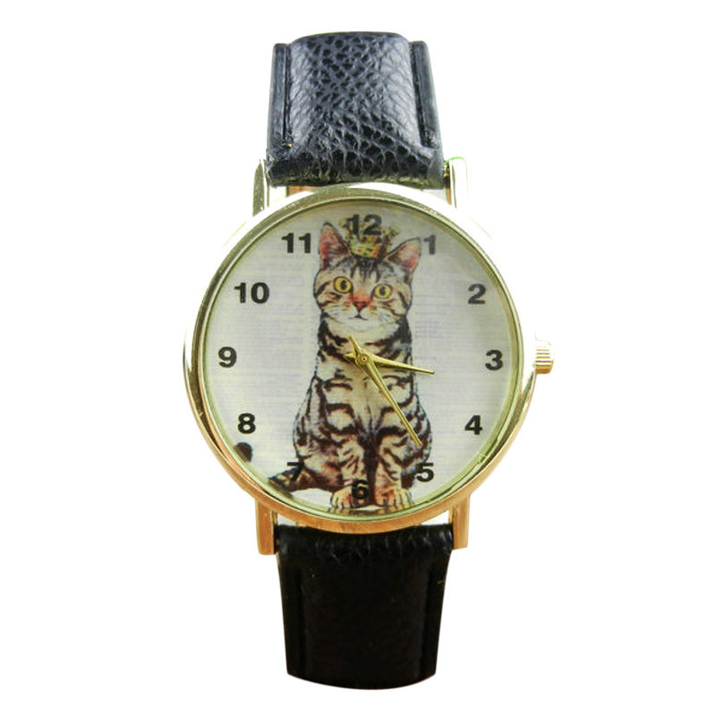 Women Casual Neutral Diamond Lovely Cats Face Faux Leather Buckle Quartz Bracelet Watches A Perfect Gift