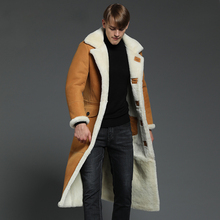 fur coats man sheepskin long over knee genuine leather trench outerwear shearling