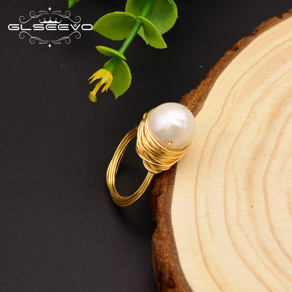 GLSEEVO Natural Fresh Water Baroque White Black Pearl Rings For Women Handmade Vintage Wedding Personality Ring Jewelry GR0192