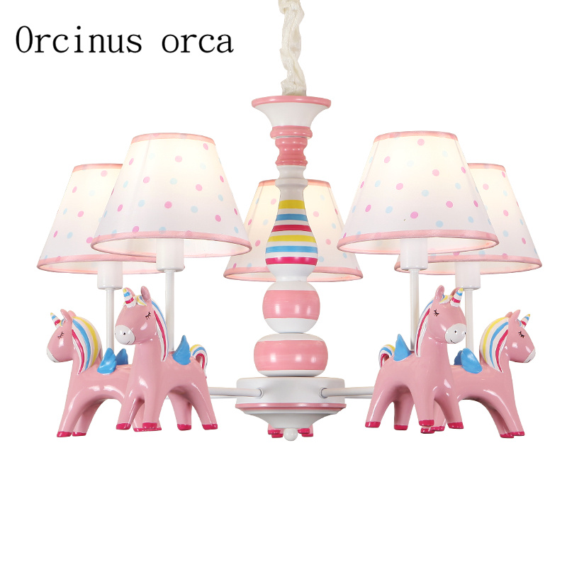 American Pastoral creative pony chandelier Girl Bedroom children's room Princess Room Light cartoon animal resin Chandelier creative cartoon baby cute led act the role ofing boy room bedroom chandeliers children room roof plane light absorption