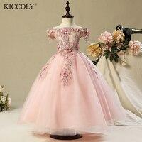 2017 Shoulderless First Communion Dresses For Girls Vestido Daminha Casamento Luxury Ball Gown Pink Organza