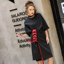 Harajuku lace up dress 2017 new summer black clothing loose style short sleeve LT050