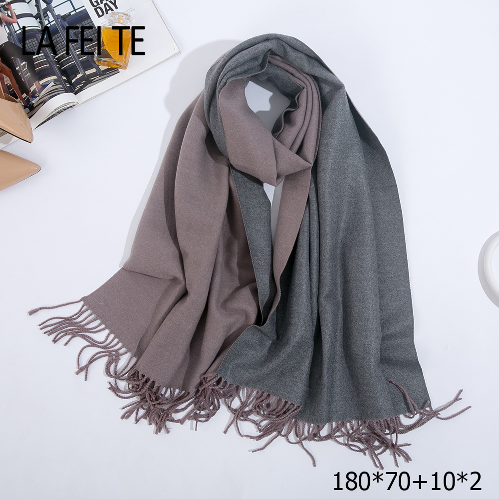 Image 2 - Double Sided Long Cashmere Winter Scarf Women Warm Kerchief Shawl Foulard Femme Stole Pashmina Neck Women Scarf For Ladies 2019-in Women's Scarves from Apparel Accessories