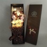 Kawaii Plush Bear Stuffed Animals Cartoon Bouquet Creative Artificial Fake Flowers Valentine's Day Christmas Birthday gift