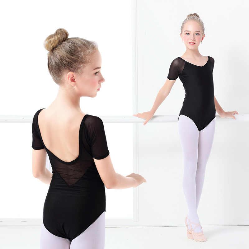 4165675cec4f5 Kids Black Dance Leotard Girls Ballet Leotard Costume Short Sleeve Cotton  Bodysuit Leotards Mesh Dance Wear