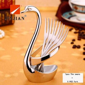 JINJIAN Stainless Steel Swan Dinnerware Set Fruit/Dessert cutlery Set for Swan Base Holder with 5 Forks Western Food Cutleries