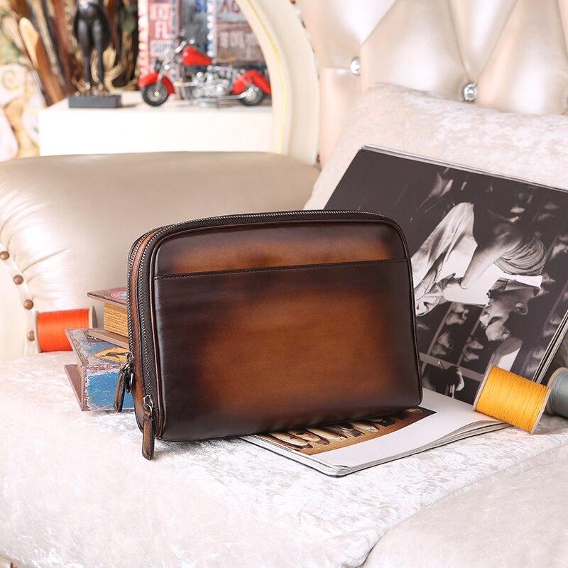 Дизайнер итальянской кожи Для мужчин сцепления Кошелек держатель для карт известный бренд кожа Для мужчин Женские Кошельки кошелек вечерн