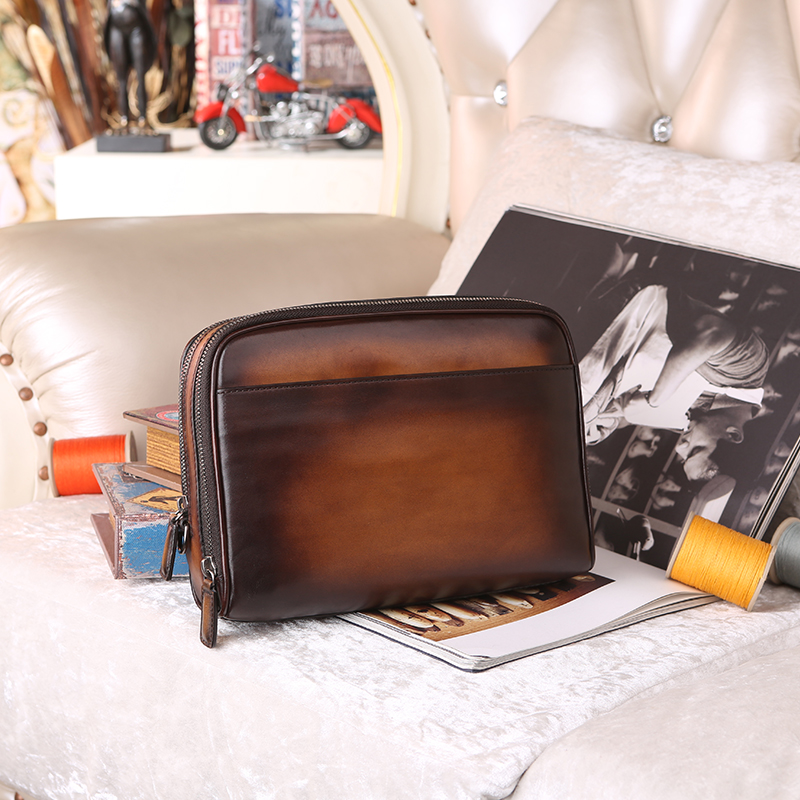 Designer italian Leather Men's Clutch Wallet Card Holder Famous Brand Leather Men Wallets purse evening bag hand patina dropship designer men wallets famous brand men long wallet clutch male money purses wrist strap wallet big capacity phone bag card holder