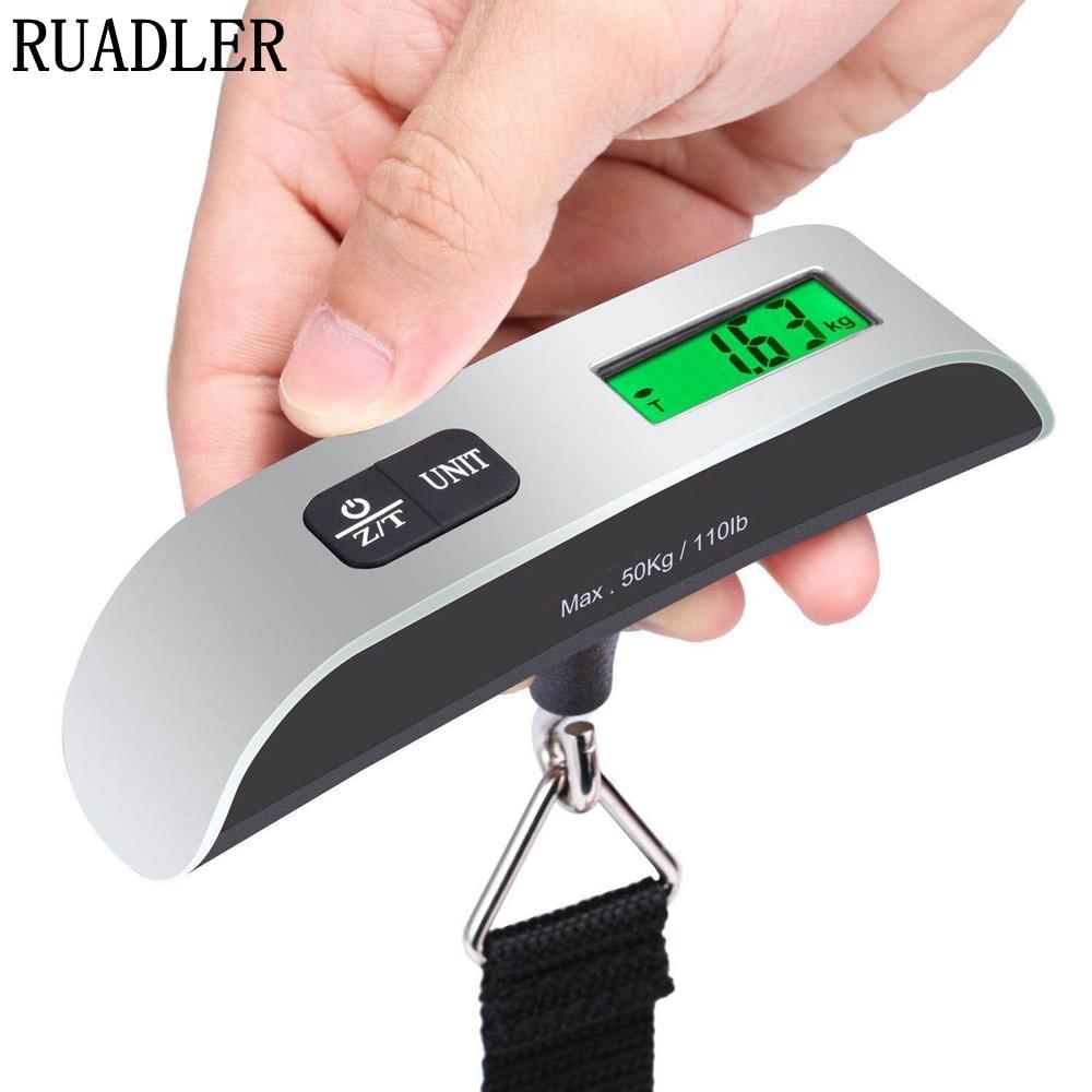 Mini Numérique Bagages Échelle Hand Held LCD Balance Électronique Balance Suspendue Électronique Thermomètre 50 kg Capacité Dispositif De Pesage