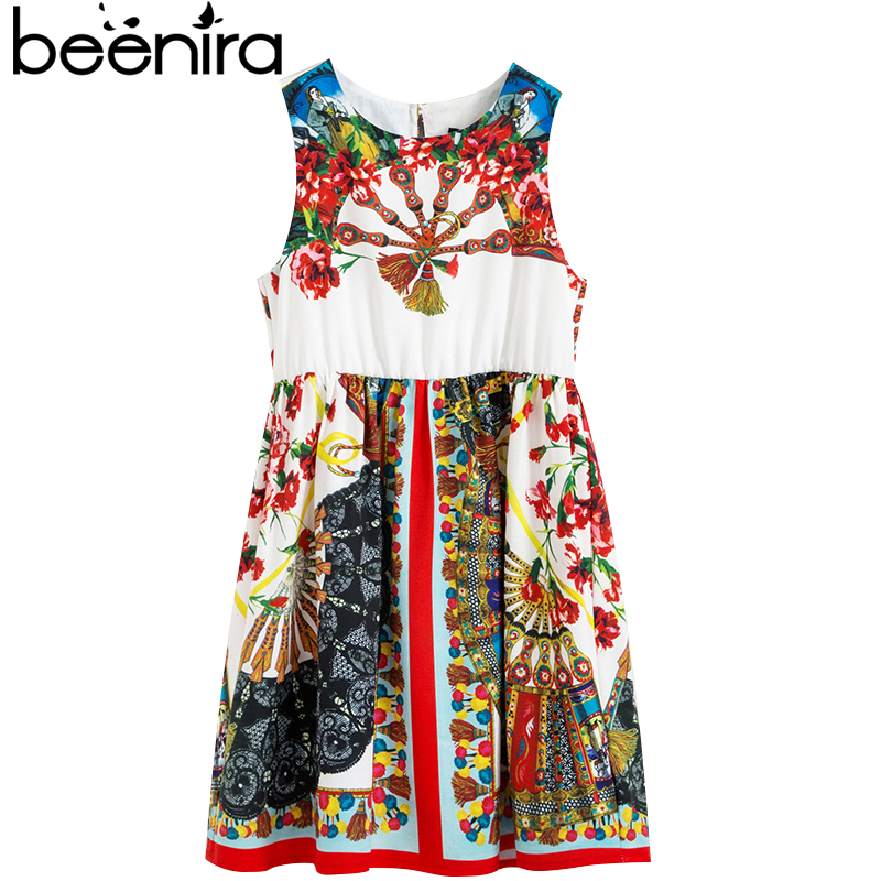 Beenira Girls Summer Dresses 2017 New Europen And American Style Children 4-14Y Clothing Dress Kids Sleeveless Pattern Dresses beenira children clothes dresses 2017 new summer fashion style girls flower pattern bow princess dress for 4 14y baby girl dress