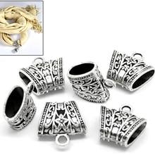 FUNIQUE 10 шт Серебряный тон Цветочные Резные бусины для ювелирных изделий и компонентов для изготовления ювелирных изделий женский шарф(Размер отверстия: 15x7 мм