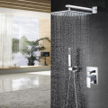 Modern Square Chrome Rain Shower Head Faucet W/ Hand Shower Sprayer Mixer
