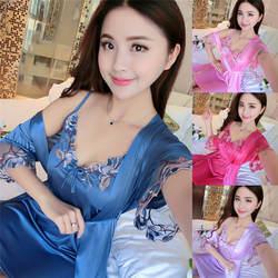 V-образным вырезом Ночная рубашка Кружева из двух частей пижамы милый ночное Для женщин Дамы Сексуальная шелковый атлас ночь платье без