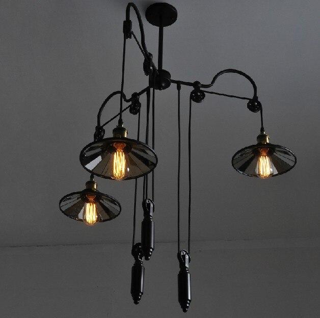 Лофт стиль промышленный ролик винтажный подвесной люстра Эдисона Потолочный подвесной светильник для украшения дома