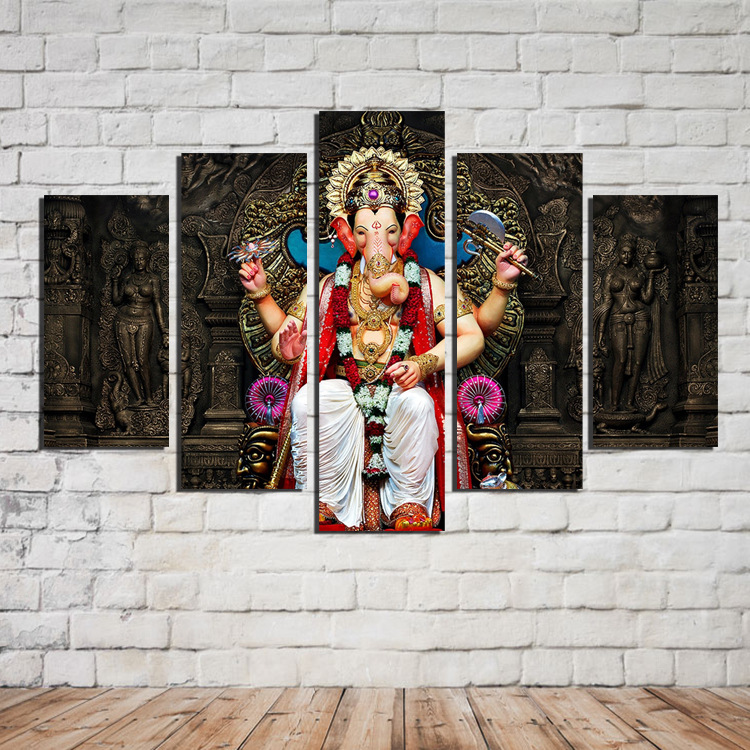 Buy unframe india ganesha 5 panels high - Wall pictures for living room india ...