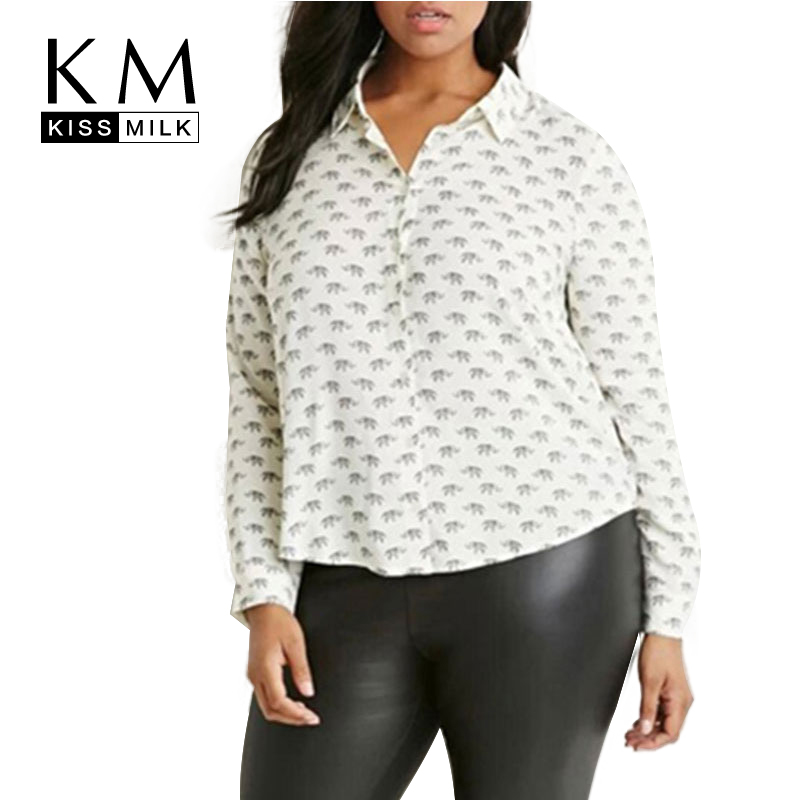 Kissmilk plus size new fashion women long sleeve animal for 6xl button down shirts