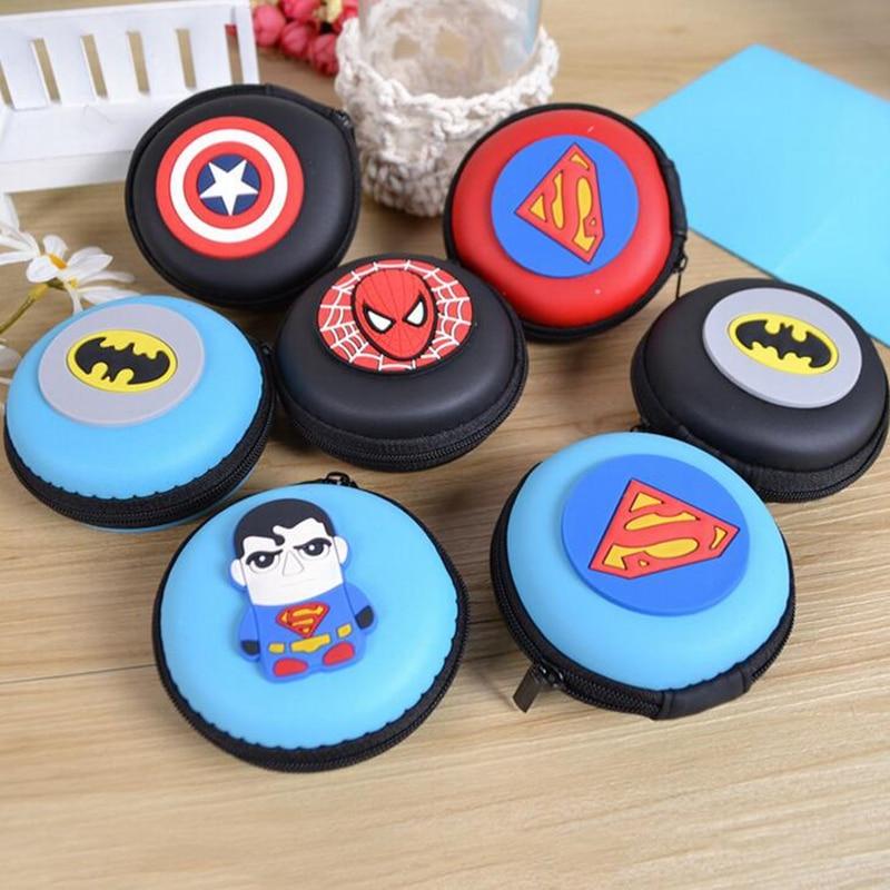 Silicone Coin Purse Cartoon Superman Spiderman Batman Round Headset Bag Samll Change Purse Wallet Pouch Bag Women Kids Girl Gift