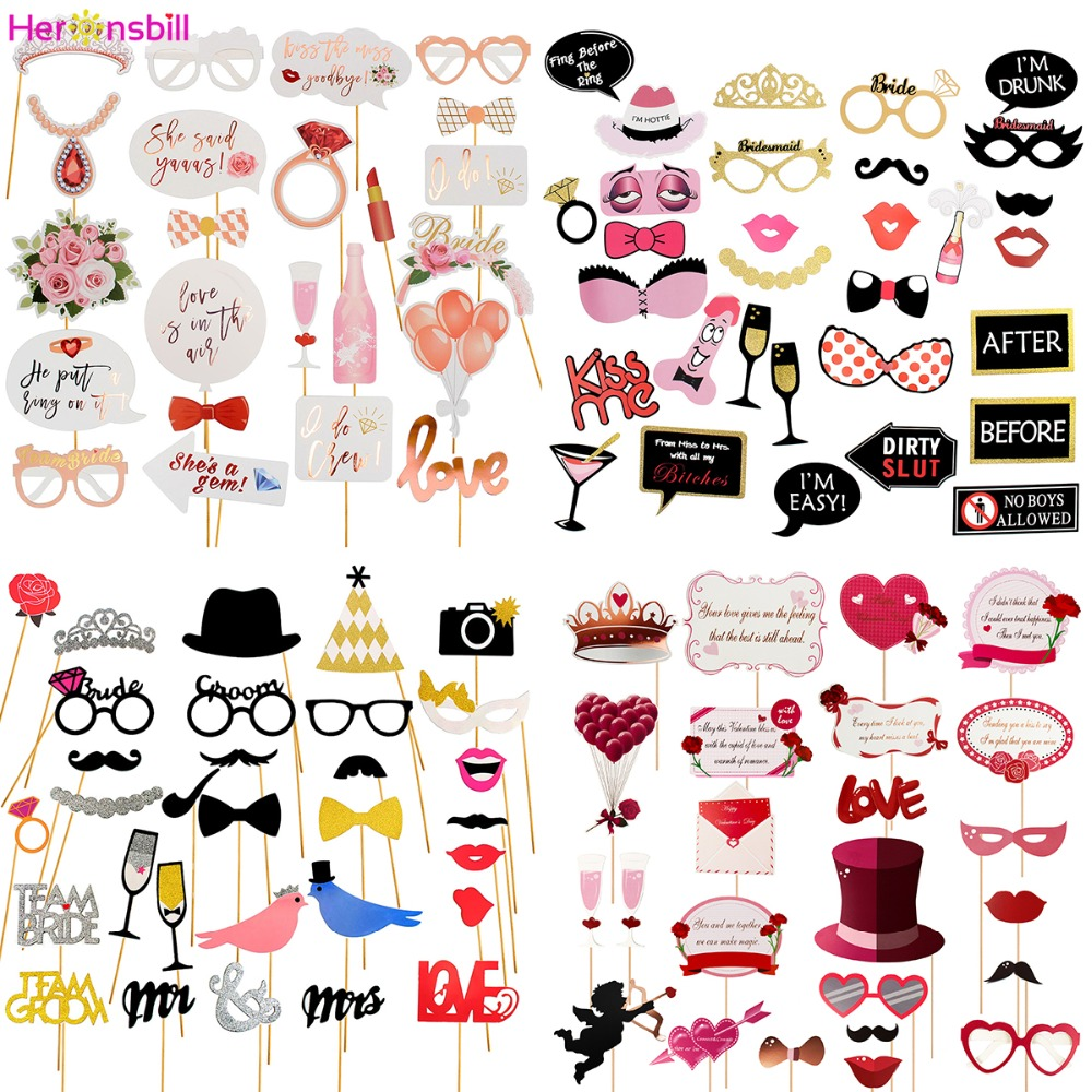 Wedding Photo Booth Props Just Married Paper Banner Bachelorette Party Decorations Bridal Shower Photobooth Hen Accessoires