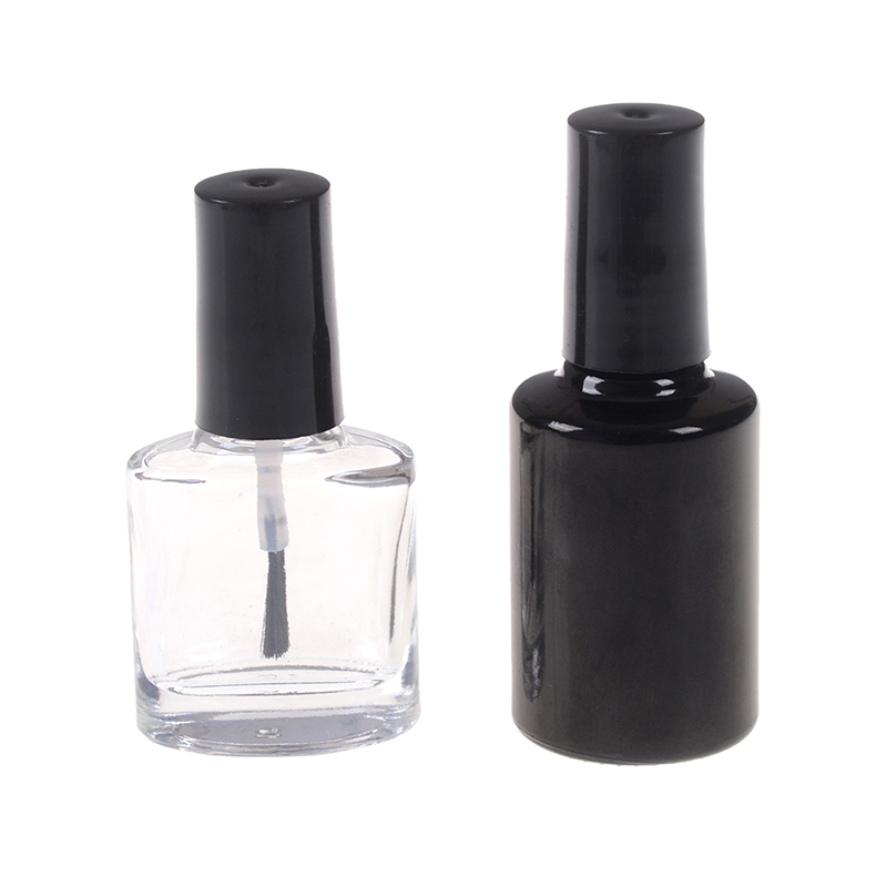 Empty Nail Polish Bottle Cosmetic Containers Nail Glass Bottles With Brush Black Transparent Glass With A Lid Brush 10/15ml