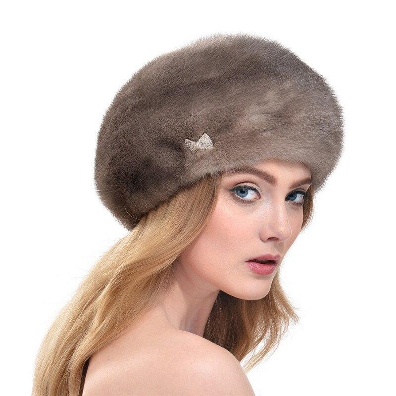 Норковая меховая шапка со стразами женская осенняя и зимняя 2019 модная новая норковая русская высококлассная элегантная шляпа береты шапки