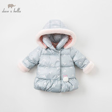 DBM8186 דייב bella תינוק בנות ילדי מעיל ארוך שרוול הלבשה עליונה אופנה ארנב מעיל