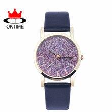 DHL livre 100 pçs/lote, marca OKTIME Casual pulseira de Couro relógios de pulso Das Senhoras Mulheres Glitter Em Pó em Round Dial Design Exclusivo