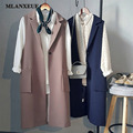 Fashion Long Pockets Turn-Down Collar Open Stitch Sleeveless Blazer Vest Jackets Jackets Vests Office Lady Elegant Long Coat