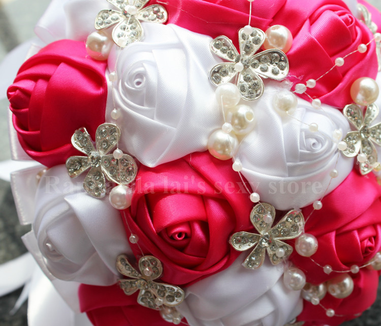 Jewelry bouquet diy custom artificial flowers silk rose bouquet jewelry bouquet diy custom artificial flowers silk rose bouquet wedding flowers buque de noiva bridesmaid bridal wedding bouquet in artificial dried mightylinksfo