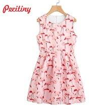 Peritiny Casual Print Tank Dress High Waist Cute Bird A Line Sleeveless Feminino Vestidos Flamingo Pattern 2017 Party Dresses