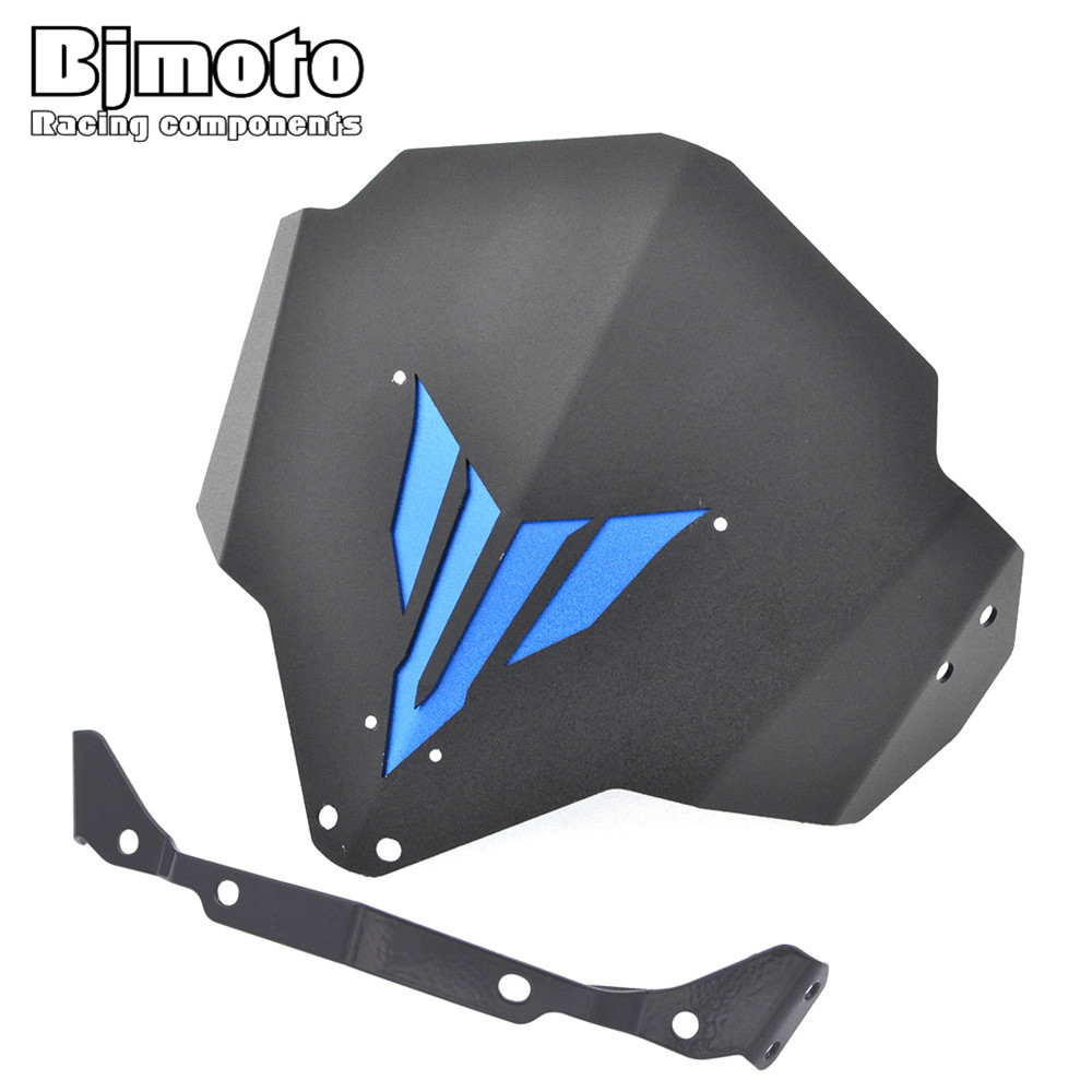 BJMOTO MT03 MT-03 FZ-03 Motorcycle Windshield Windscreen With adjustable bracket Wind Screen For Yamaha MT-03 FZ-03 2015-2018 for yamaha mt 01 mt 03 mt 07 fz 07 mt07 mt03 mt01 motorcycle navigation frame mobile phone mount bracket with usb charge port