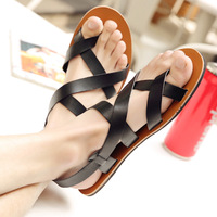 M anxiu New Style Gladiator Genuine Leather Buckle Strap Sandal Men Casual Flat Rubber Sole Breath Antiskid Shoes 2018 Summer