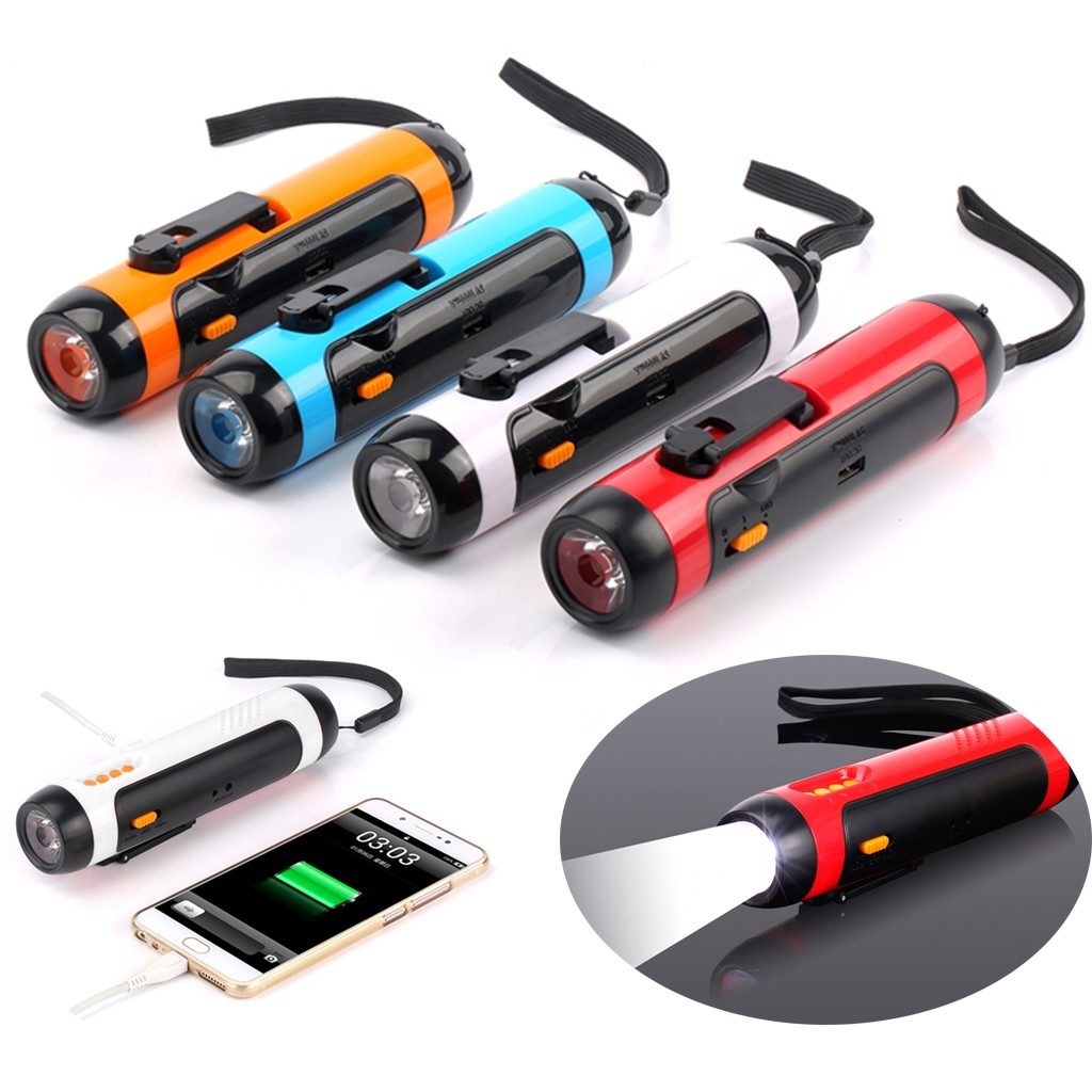 Alarm FM Radio Mobile Phone Charging Hand-operated Powerful Generate LED Torch