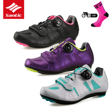 Santic 2018 Women's Cycling Shoes Lace-up Lady Bike Sneakers Road Bicycle Shoes Athletic Racing Bicycle Shoes for Riding Sports