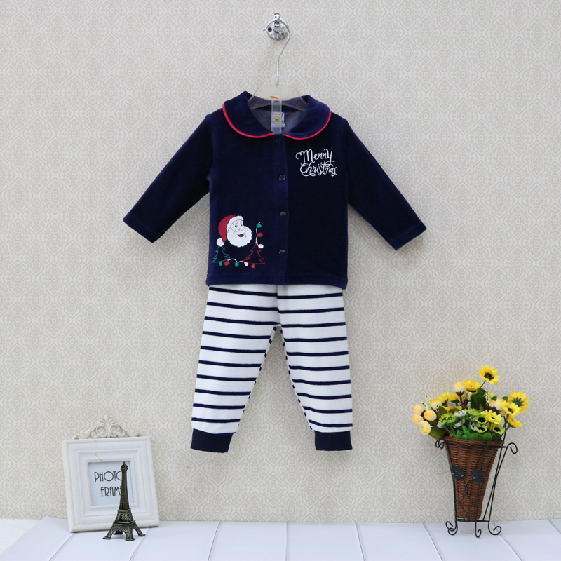 Little Q Velour Baby Christmas Sets Toddler Long Sleeve Blouse+ Long Boys Striped Elastic Waist Pants Outfits Girls Clothes men elastic waist drawstring striped pants