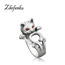 Drop Shipping Vintage Silver Color Red Eye Lucky Cat Thai Ring Fashion Wedding Cute Cat Rings For Women