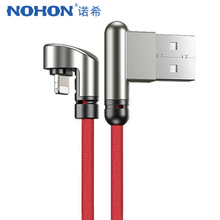 NOHON Charger Data Lighting Cable For iPhone XS MAX XR X 8 7 6 Plus iPad 8pin Mobile Phone Fast Charging Double Elbow Cables