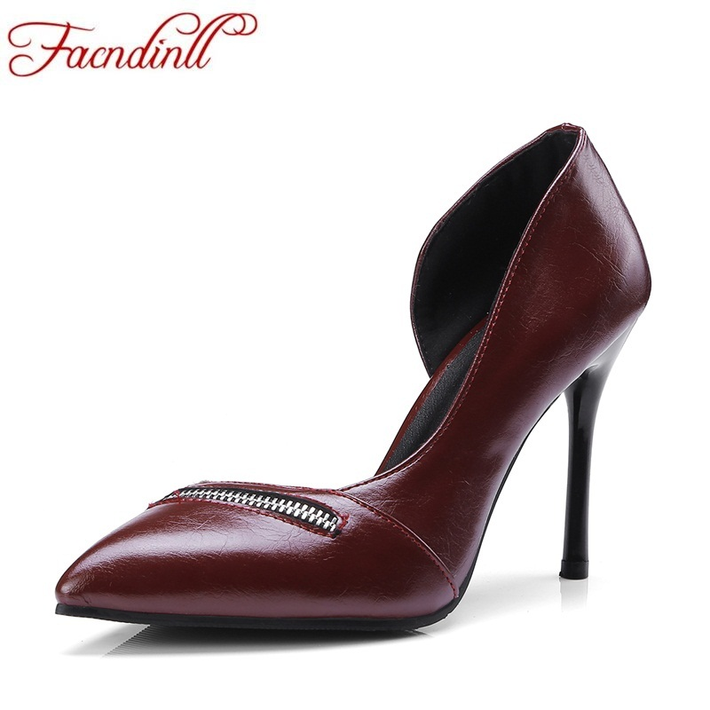 все цены на FACNDINLL brand design shoes woman black PU leather pumps super thin high heels sexy pointed toe ladies party dress pumps shoes