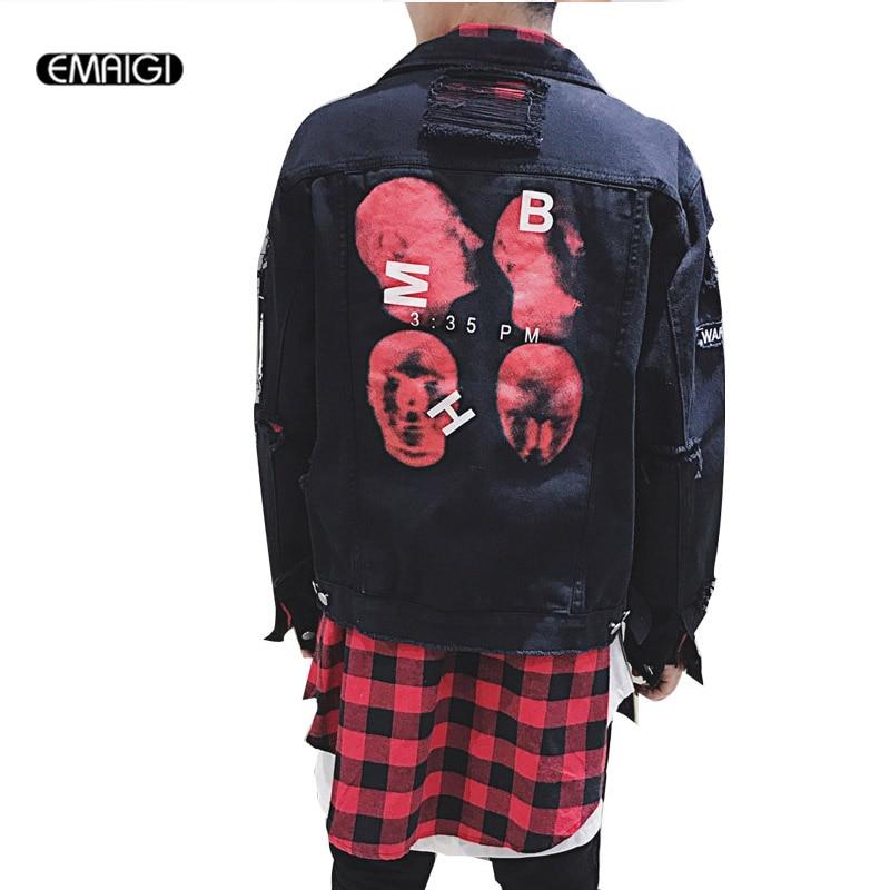 High Street Fashion Hiphop Men Jean Jacket Back Print Hole Short Denim Jacket Vintage Male Black White Casual Coat