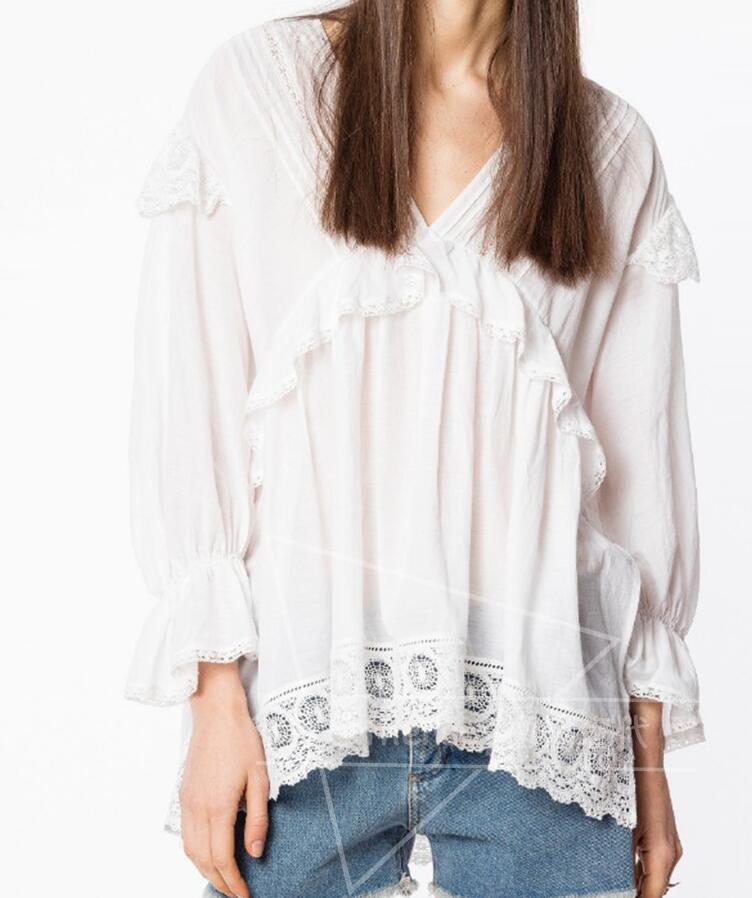 ผ้าฝ้ายสีขาว TULIN ด้านบน V คอ Ruffled รายละเอียดลูกไม้ Hem แขนยาวไหล่เสื้อผู้หญิงคุณภาพสูง-ใน เสื้อสตรีและเสื้อเชิ้ต จาก เสื้อผ้าสตรี บน   1