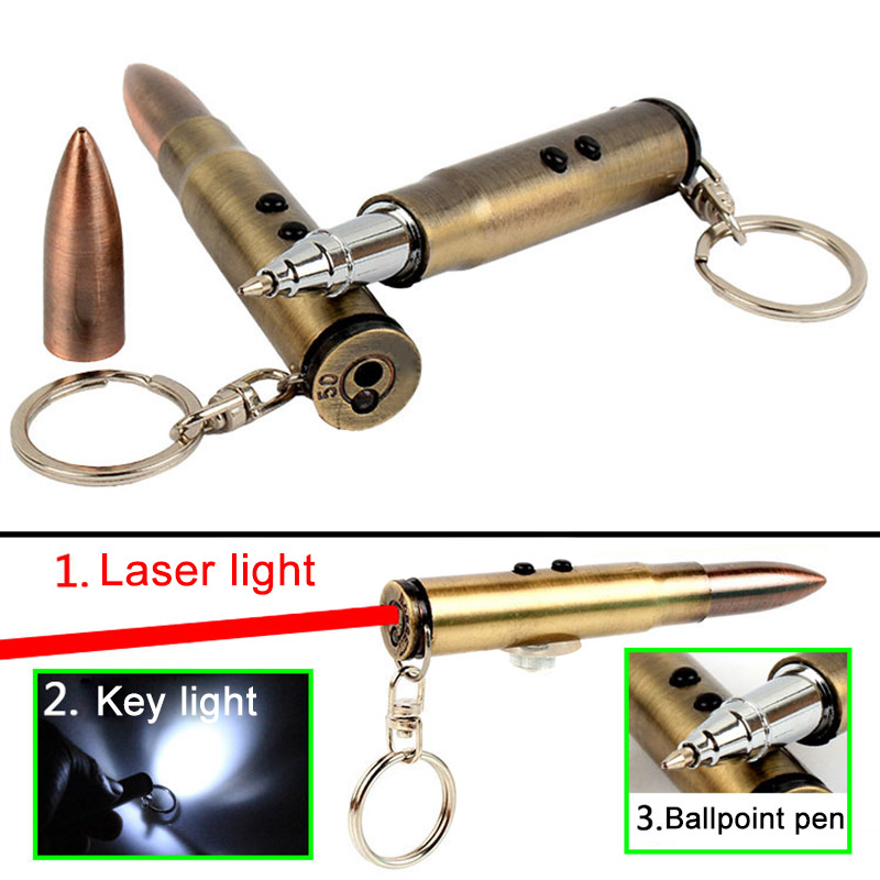 4 In 1 Multifunction Outdoor Self-defense Flashlight Bullet Shaped Pen Survival EDC Laser+Light+Hammer+Ballpoint Self Defense &T