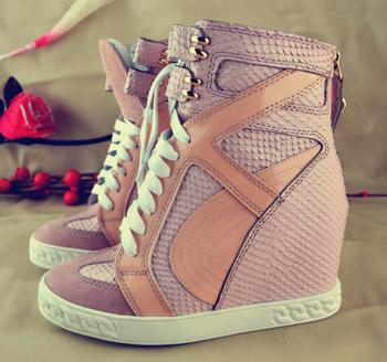 Hot Selling Patchwork Height Increasing Ankle Boots Round Toe Lace-up Rubber Sole Platform Lace-up Leisure Shoes Outside